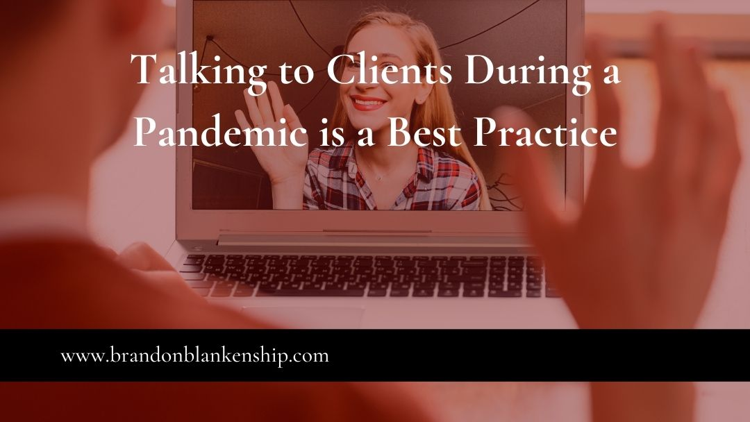 Zoom call talking with clients during pandemic