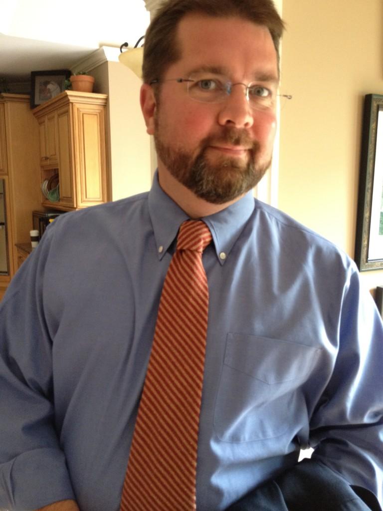 Brandon L Blankenship wearing Anna's striped tie